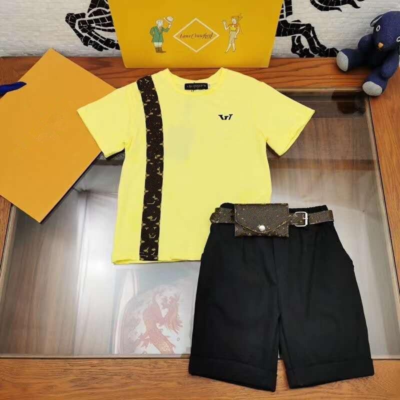 3 Pcs Set Boy's Fashion Mesh Set Girls' Summer Fashion Brand Set Kids Shirt + Short +kids Belt Bag