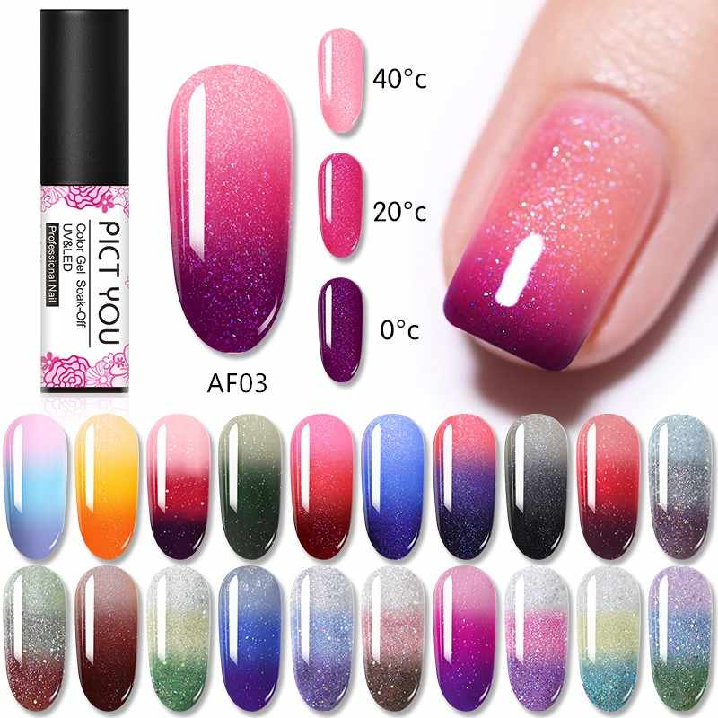 PICT 5Ml Glitter Nail Gel Polish Rendam Off Gel Memoles Termal Gel Perubahan Shimmer Bersinar Kuku Gel Base coat dan Top Coat