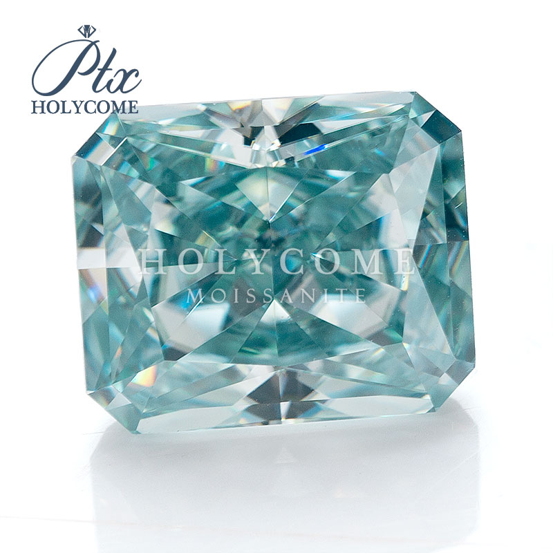 6X7mm 2020 hot sale radiant cut blue moissanite gemstone VVS1 accept whole sale top quality for jewlery making free carving
