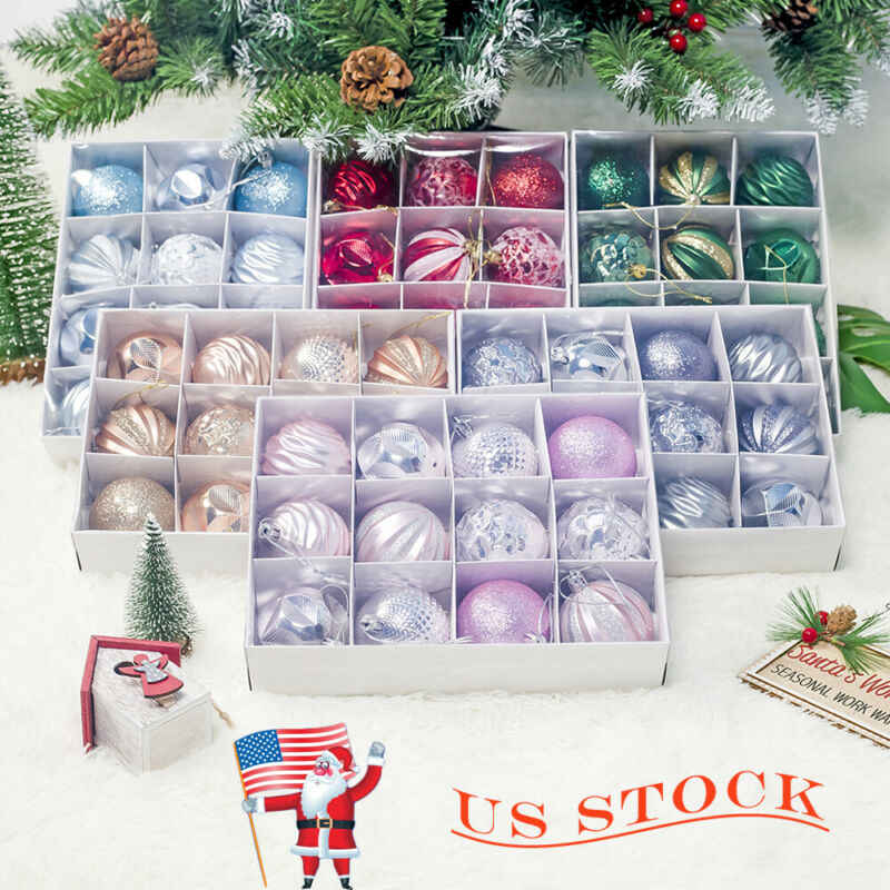 12pcs/lot 60mm Christmas Tree Decor Ball Baubles Xmas Party Hanging Ball Ornament Decoration Xmas Hanging Home Christmas Decor