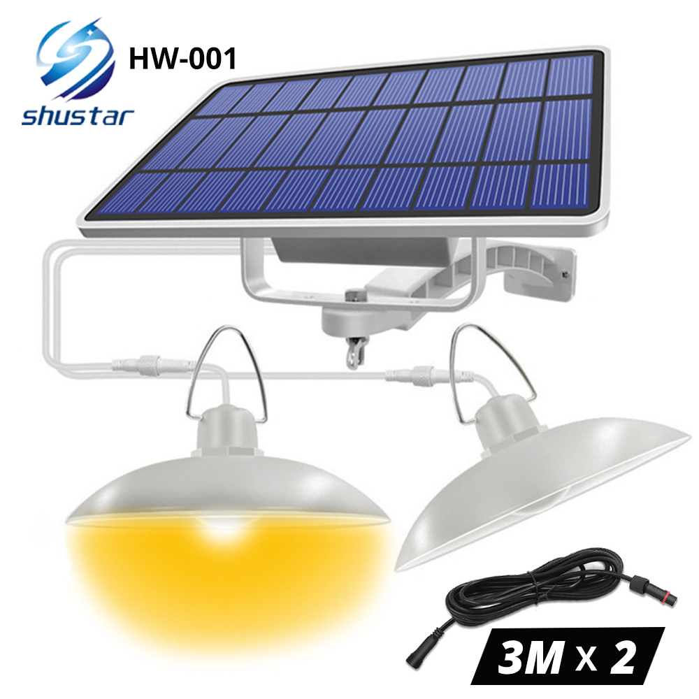 IP65 Waterproof Double Head Solar Pendant Light Outdoor Indoor Solar Lamp With Cable Suitable for courtyard garden indoor etc