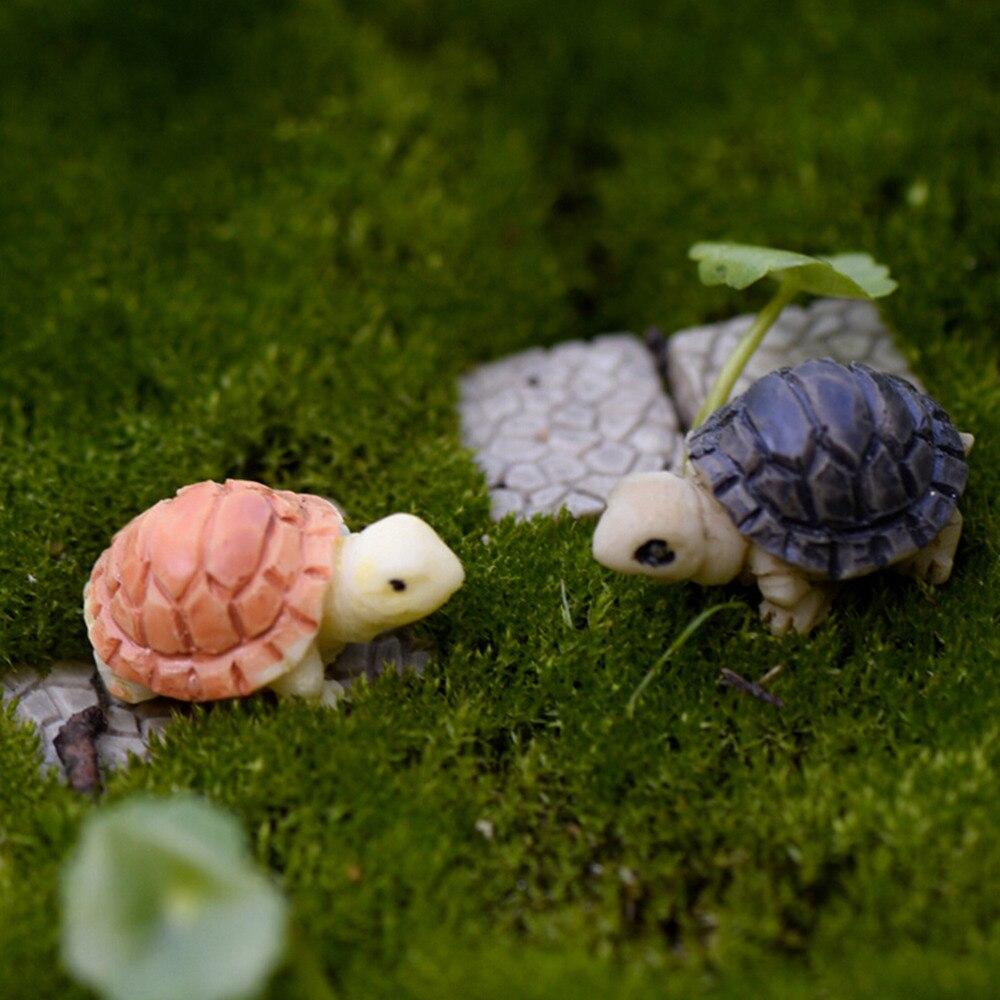 2PCS/set Mini Turtle Tortoise Miniature Fairy Garden Decoration DIY Doll House Terrarium Micro Landscape Decoration DIY Gift