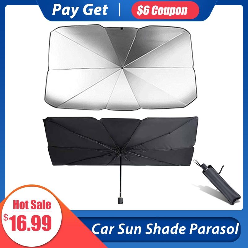 Car Windshield Sun Shade UV Rays And Heat Sun Visor Cover Protector Foldable Reflector Umbrella Portable Outdoor Sun Umbrella