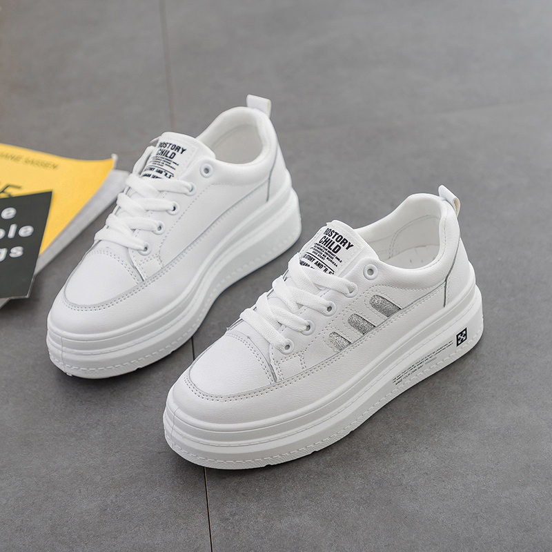 Hot Sale Fashion Mesh Pu Leather Spring Summer Breathable Women Sneakers Platform Flats White Women Shoes Casual Shoes D0056 in Women 39 s Vulcanize Shoes from Shoes