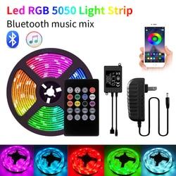 5m 20m Bluetooth LED Strip Light Waterproof DC12V Smart 5050 RGB Luces Led Light String Diode Flexible Ribbon Controll+Adapter