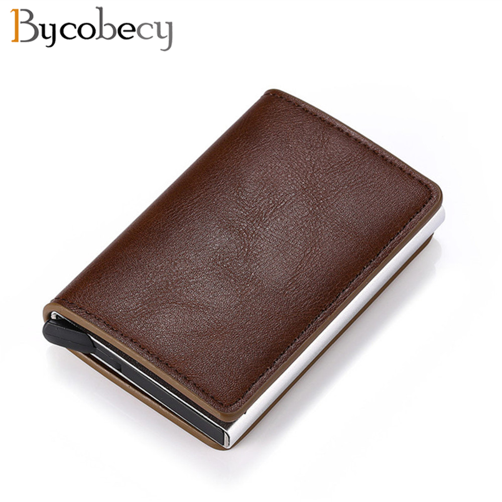 Bycobecy Business ID Card Case Men Credit Card Holders  Fashion Automatic RFID Card Holder Aluminium Bank Card Wallets