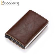 Bycobecy carteira masculina de alumínio, carteira de cartão de banco rfid automático, porta-cartão de banco rfid