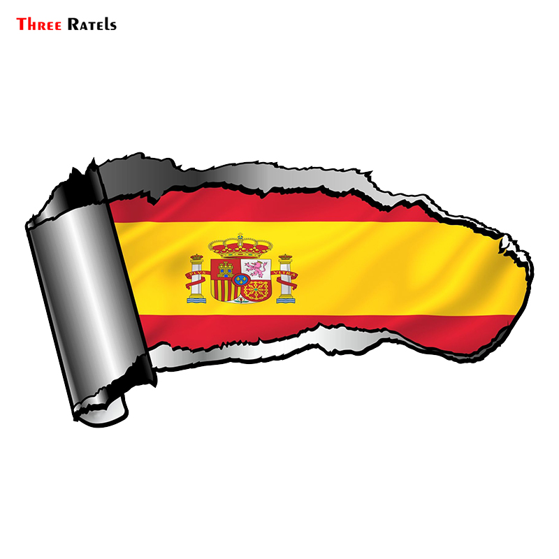 Three Ratels FTC-803# 20x10.8cm Ripped Open Gash Torn Metal Design With Spain Spanish Country Flag Vinyl Motorcycle Car Sticker