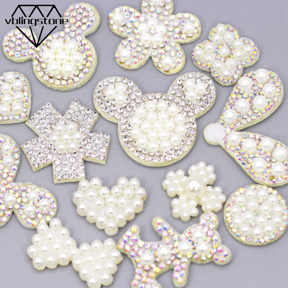 10 Stuks Rhinestone Pearl Patches Ab Crystal Kralen Applique Voor Diy Kleding Witte Non-woven Patches Diy Hoofddeksels Cartoon sew Patch