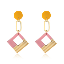 DREJEW Korean Pink Blue Green Geometric Square Statement Earrings Alloy Drop for Women Weddings Party Jewelry HE7461
