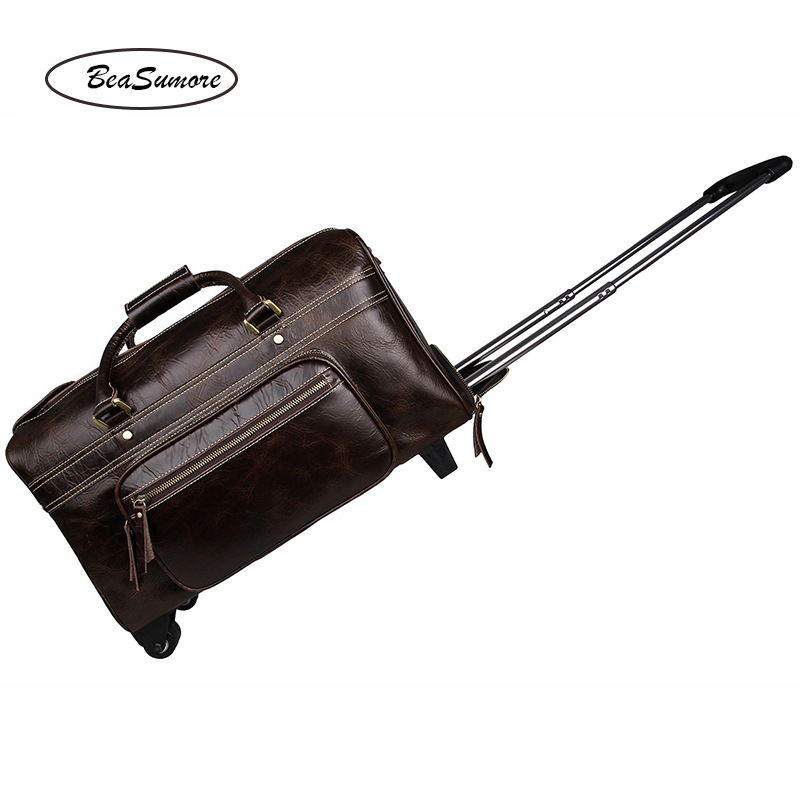 BeaSumore High-grade Head layer cowhide Travel Bag 100 % Genuine Leather Men Business Trolley 20 inch carry on Suitcases Wheel