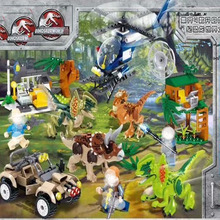 Jurassic Blocks World Helicopter Forest Dilophosaurus Pluto Dragon Triceratops Dinosaur Figure Bricks  Toys For Children B797