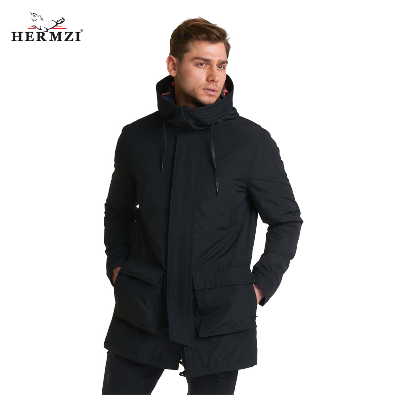HERMZI 2020 New Spring Men Coat Hooded Long Jacket Autumn Thin Padded Coat Black Men Coats Parka Men High Quality Fashion Jacket