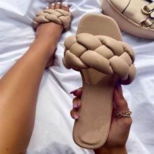 Sandales tressées pour femmes, chaussures d'extérieur et de plage, pantoufles de maison, tongs à la mode, 2021