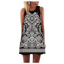 Sukienka Vintage kobiety Boho lato bez rękawów, plaża, drukowana, krótka Sukienka czechy Sundress Sukienka Damska sukienki Retro dla kobiet