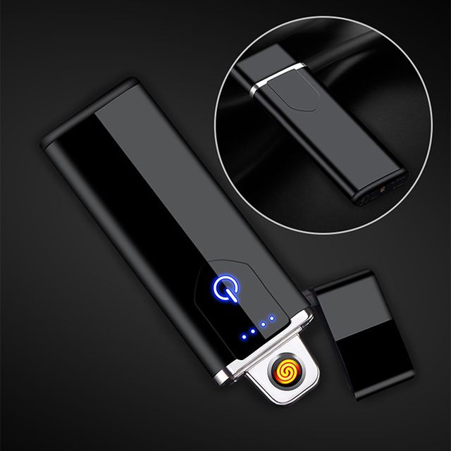Electric Lighter USB Rechargeable Portable Windproof Smoking Accessories Tools Multicolor Lighters Ultra-thin 3