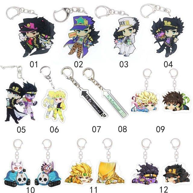 Anime Jojos Bizarre Adventure Keychain Acrylic Two-sided Figure Kujo Jotaro Yoshikage Caesar Keychain Collection Gift