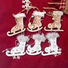 2020 New 3Pcs/lot Innovative Christmas Skates Christmas Tree Painted Skates Ski Shoes Wooden Decorative Pendant Party Supplies(China)