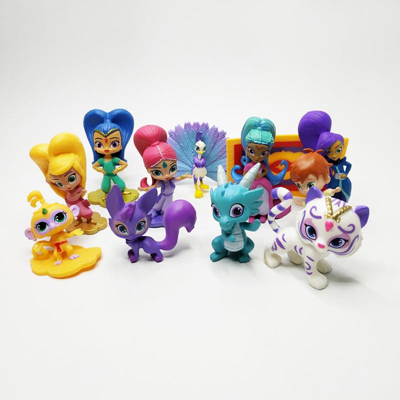 Shimmer Dan Bersinar 12 Pcs Lot 4 7cm Boneka Aksi Figur Mainan Shimmer Shine Leah Kaz Kue Dekorasi Anak Anak Hadiah Natal Aksi Toy Angka Aliexpress