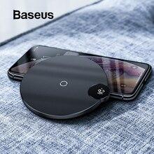 Baseus светодиодный цифровой дисплей Беспроводное зарядное устройство для iPhone X XR XS Max 8 Qi Беспроводное быстрое зарядное устройство для samsung Galaxy S10 huawei P30