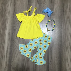 Image 1 - חדש כניסות קיץ תינוק בנות מנטה צהוב חמניות עניבה למעלה דפוס ילדי בגדי capris בוטיק אביזרים תואמים