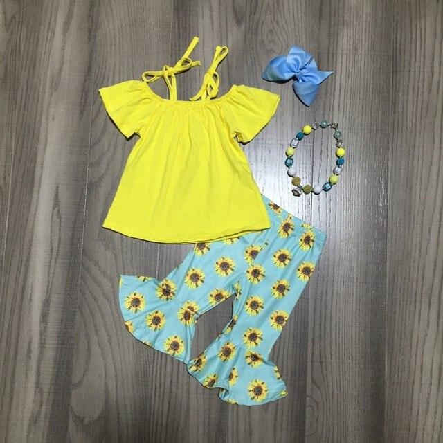חדש כניסות קיץ תינוק בנות מנטה צהוב חמניות עניבה למעלה דפוס ילדי בגדי capris בוטיק אביזרים תואמים