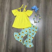 Nova chegada do verão bebê meninas hortelã amarelo girassol gravata padrão superior crianças roupas capris boutique acessórios de harmonização