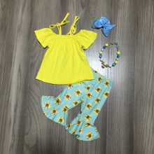 new arrivals Summer baby girls mint yellow sunflower tie top pattern children clothes capris boutique matching accessories
