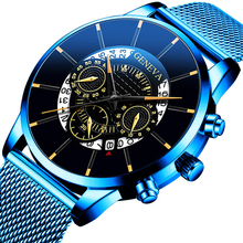 Relojes Masculino Mens Watches Fashion Stainless Steel Luxury Calendar Display A