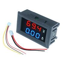 Mini carro digital voltímetro amperímetro dc 100v 10a 50a 100a display led painel amp volt tensão medidor de corrente testador detector