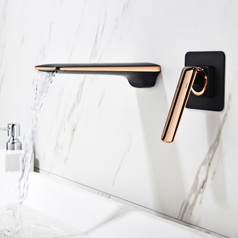 Basin Faucets Waterfall Water Brass Bathroom Faucet Single-Unit Gold Basin Mixer Tap Single Hot & Cold kitchen Water Tap DBF004