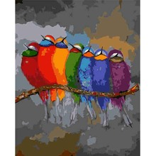 DIY Singing Bird Digital Acrylic Hand Painted Canvas Oil Paintings Nordic Animal Wall Art Decoration Home 40x50cm