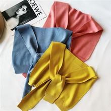 Korean Knit Wool Solid Soft Warm Autumn Winter Adult Women Pashmina Shawls Wraps Scarves Accessories-LHC