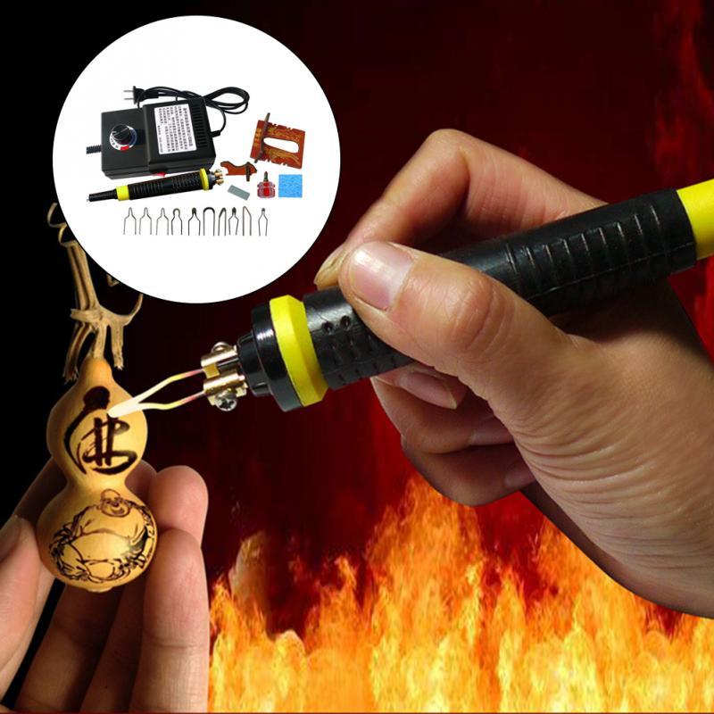 US Plug Carving Burning Tool 220V Wood Pyrography Machine Set Durable Adjustable Temperature With Screwdriver Pen Portable
