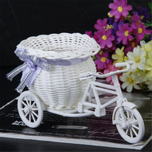 Wit Driewieler Fiets Ontwerp Bloem Mand Opslag Container DIY Party Weddding casamento Decoratie Benodigdheden Flores Artificiales(China)