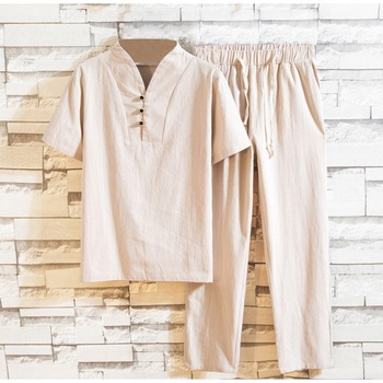 2020 Mens Summer Chinese Style Cotton Linen Solid Color Casual Set 2 Pieces New Stand Collar Short Sleeves T-shirt+Pants