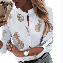 New Ladies Casual Button Down Blouse Shirt Spring Womens Pineapple Printed Shirt Autumn Female Long Sleeve Stand Collar Blouse womens plus size roll up long sleeve metallic pineapple printed stand collar blouse button down v neck casual loose tops