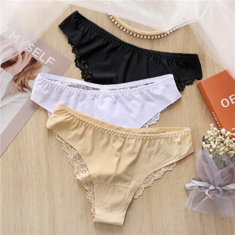 1Pc Sexy Underwear Women's Lace Panties Low Waist Seamless Briefs For Girls Milk Silk Female Lingerie Breathable Underpants M-XL