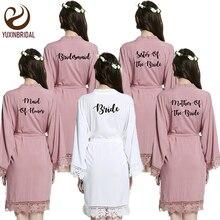 YUXINBRIDAL2019 yeni leylak gelin nedime gelin elbiseler pamuk Kimono elbiseler dantel Trim ile kadınlar düğün gelin Robe kısa