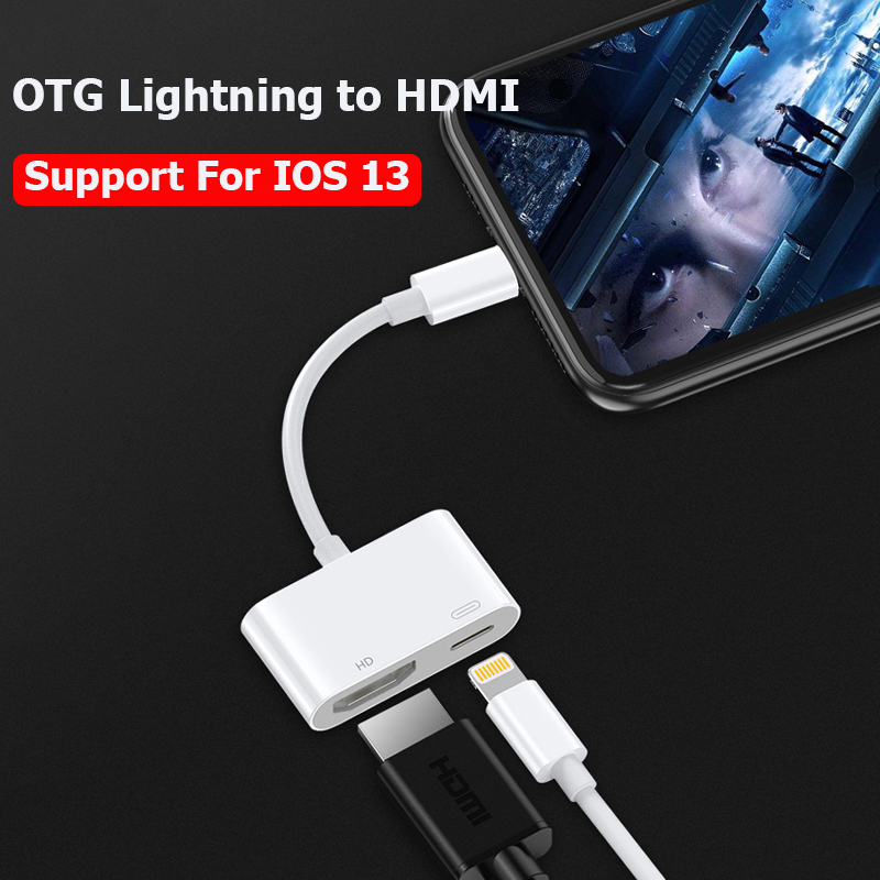 OTG Lightning To HDMI Cable For Iphone Adapter 1080P HD Digital Connector For Ipad Iphone 11 8 Xs Xr IOS 13 HDMI Cable Adapter