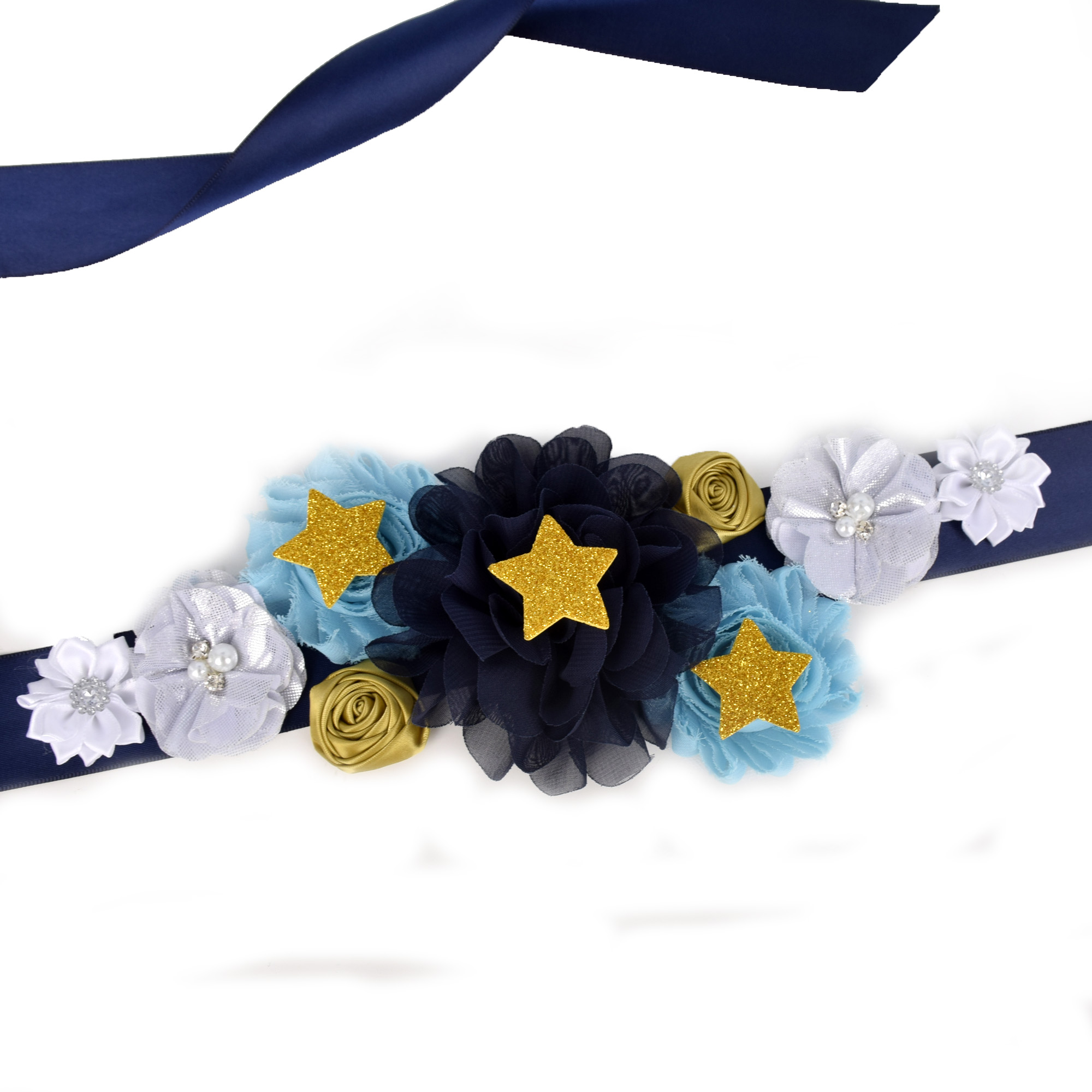 Navy Blue/White/Gold Flower Sash Wedding Bridal Belly Belt Maternity Sash Baby Shower Party Photo Props