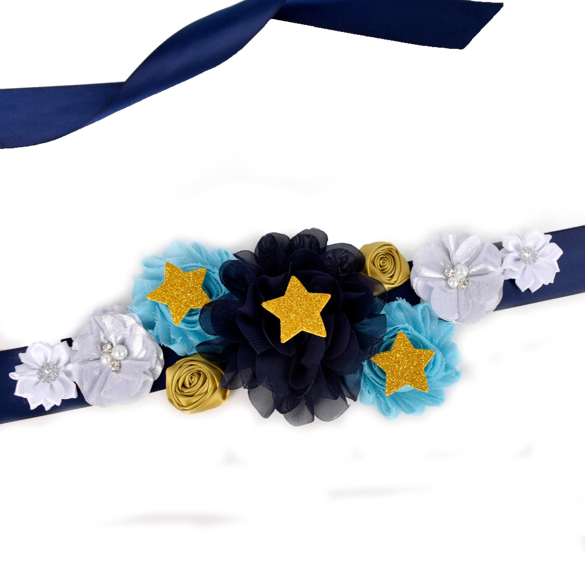 Navy Blue/White/Gold Flower Sash Wedding Bridal Belly Belt Maternity Sash Baby Shower Party Photo Props