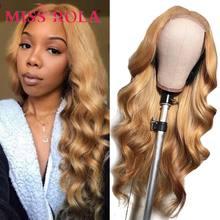 Miss Rola – perruque Lace Closure Wig brésilienne Remy naturelle, cheveux ondulés, ombré 99J, Blond bordeaux, 4x4, pre-plucked, densité 180%