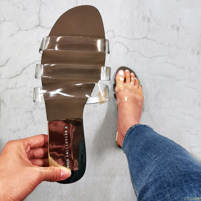 Flat Women Sandals Shoes Open Toe Slides Transparent  PVC Fashion Summer Shoes Ladies Slippers Outside Beach Female Sandal