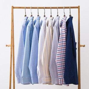 Image 4 - 2020 wysokiej jakości męskie koszule z długim rękawem 100% bawełna Oxford umyć paski dopasowana, w stylu Casual slim dopasowane koszule dla mężczyzn