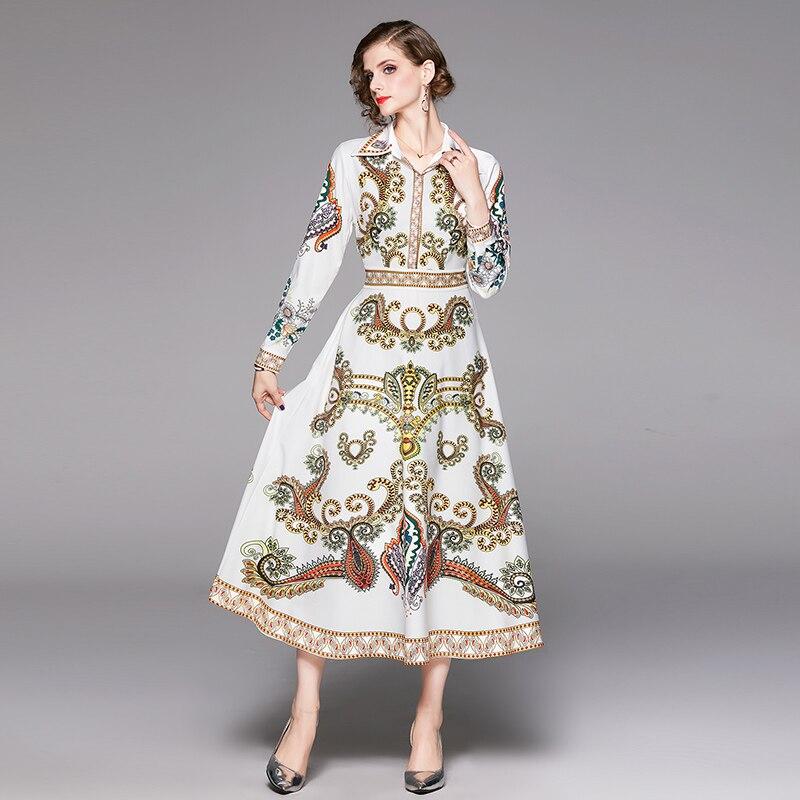2019 осеннее Новое Женское Платье рубашка в европейском и американском стиле с длинными рукавами и принтом