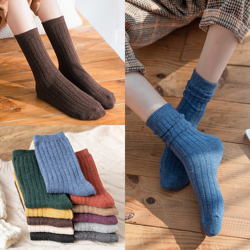 GREENYU Brand New Model Cotton Solid Color MoreThick Women Socks Winter Warm Socks Cotton Breathable Sweat-absorbing Socks Women