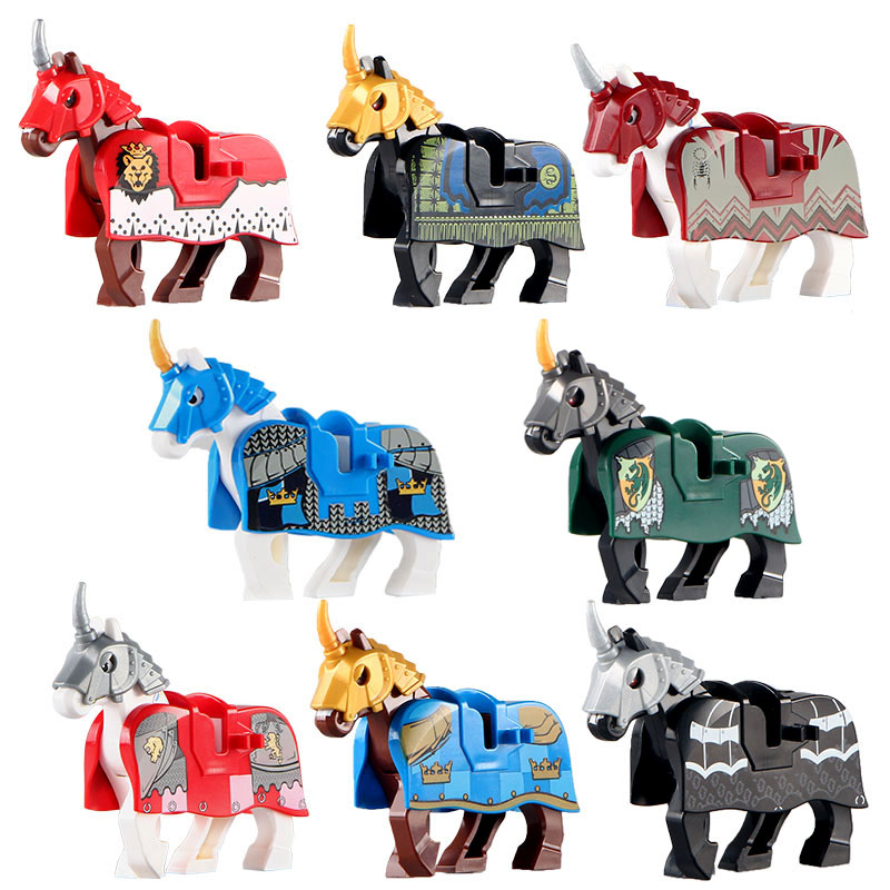 <font><b>Medieval</b></font> Knight Weapons Accessory Building Blocks <font><b>Castle</b></font> Army Cavalry Armor Horse Military Figures Parts Animal Bricks Toys Kids image