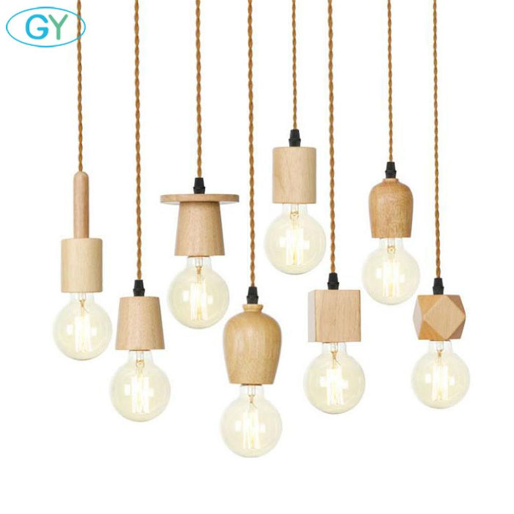 Wood Pendant Lights Vintage Retro Loft Industrial Hanging Lamp For Living Room Kitchen Home Light Fixture Wooden Decor Luminaire