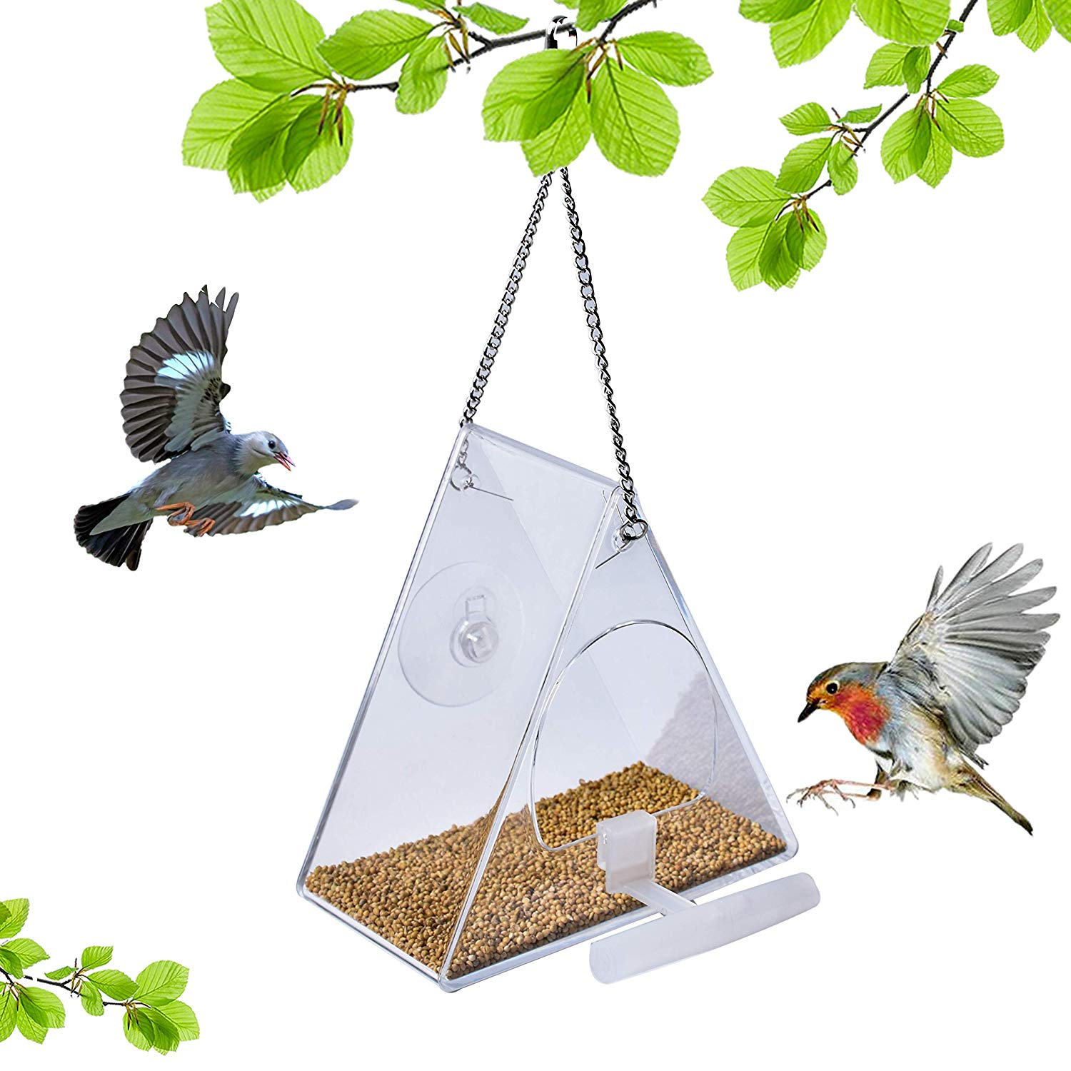 Window Bird Feeder Clear Perspex Hanging Bird Feeder With Suction Cup.